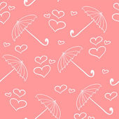 Rosa feminino padrão sem emenda com guarda-chuvas e corações — Vetorial Stock