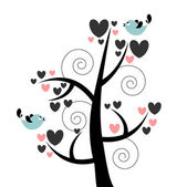 Card with beautiful tree hearts and birds — Stock Vector