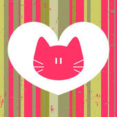 Beautiful love card with cute cat — Stock Vector