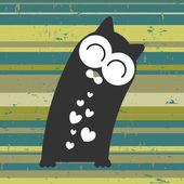 かわいい猫と美しい愛カード — ストックベクタ
