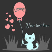 Romantic card with cute kitty holding a balloon — Stock Vector