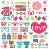 Big set of various romantic elements for design — Stock Vector