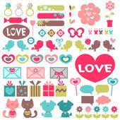 Big set of various romantic elements for design — Stock Vector