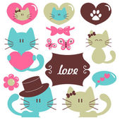 Cats in love romantic vector set of elements — Stock Vector