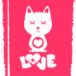 Cat in love valentine card — Stock Vector