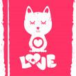 Cat in love valentine card — Stock Vector #13542536