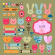 Stock Vector: Cute childish scrapbook elements