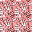 Stock Vector: Sweet stuff hand drawn seamless pattern