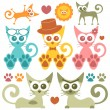 Stock Vector: Cute colorful kittens set