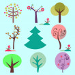 Set of various trees — Stock Vector