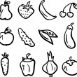 Stock Vector: Hand drawn fruit and vegetable icon set