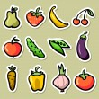 Fruit and vegetable stickers set — Stock Vector