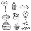 Hand drawn set of sweet stuff — Stock Vector