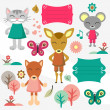 Baby animals scrapbook elements set — Stock Vector #13542594