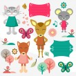 Stock Vector: Baby animals scrapbook elements set