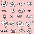 Royalty-Free Stock Imagem Vetorial: Set of cute hand drawn romantic icons