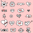 Set of cute hand drawn romantic icons — Stock Vector