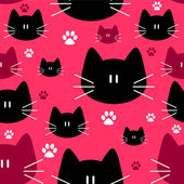 Cute seamless pattern with cat faces — Stock Vector