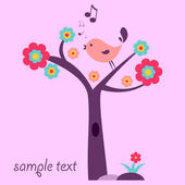 Cute bird on the tree — Stock Vector