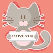 かわいい子猫のロマンチックなバレンタイン カード — ストックベクタ