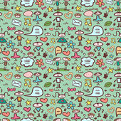 Cute childlike seamless pattern — Stock Vector