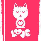 Kočka v valentine love karta — Stock vektor