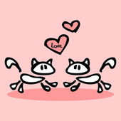 Due gatti in amore — Vettoriale Stock