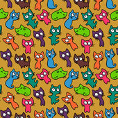 Colorful seamless pattern with kittens — Stock Vector