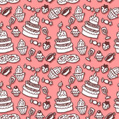 Sweet stuff hand drawn seamless pattern — Stock Vector