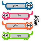 Gatos graciosos coloridos con lugar para el texto — Vector de stock