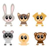 Cute baby animals set — Vecteur