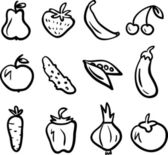 Hand drawn fruit and vegetable icon set — Stock Vector