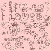 Romantik şeyler şirin el kümesi çizilmiş — Stok Vektör