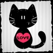 Valentine card with cat — Vector de stock