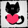 Valentine card with cat — Vector de stock #13722646