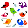 Stock Vector: Various colorful birds set