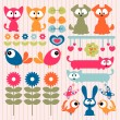 Stock Vector: Scrapbook elements cute animals