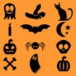Set of Halloween icons — Imagen vectorial