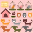 Cute pets collection — Stock Vector #13722679