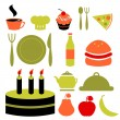 Stock Vector: Various food icons set