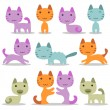 Very cute baby kittens set — Stock Vector