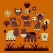 Stock Vector: Set of cute animals and nature elements
