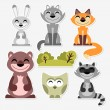 Cute wild animals set - Stock Vector