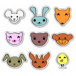 Cute animal faces set — Stock Vector
