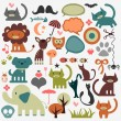 Cute animals and various elements set - Stock Vector