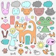 Royalty-Free Stock Vector Image: Various elements animals and nature. Cute babyish style