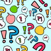 Coloridos patrones sin fisuras con signos de interrogación y exclamación — Vector de stock