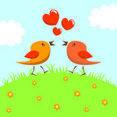 Pájaros en el amor — Vector de stock