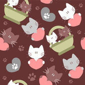 Romantic seamless background with kittens — Stock Vector