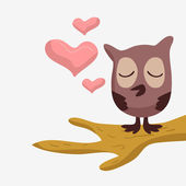 ładny sowa w miłości — Wektor stockowy